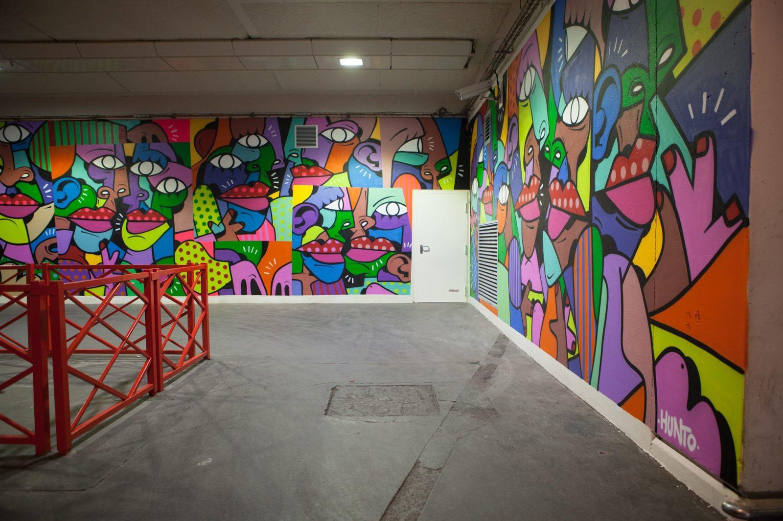 arturbain murales quai 36 garedelyon hunto 1 - Quai 36 invite des street artistes à colorer halls de gare et palissades de chantiers