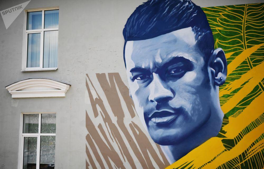 Graffiti Street Art Neymar Russie football streetart murale collage radar SPUTNIK - Coupe du Monde de football 2018 : les plus belles œuvres de street art !