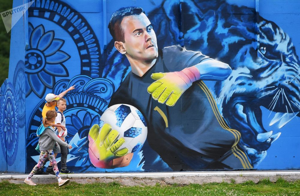 Graffiti Street Art igor Akinfeev Russie football streetart murale collage radar SPUTNIK - Coupe du Monde de football 2018 : les plus belles œuvres de street art !