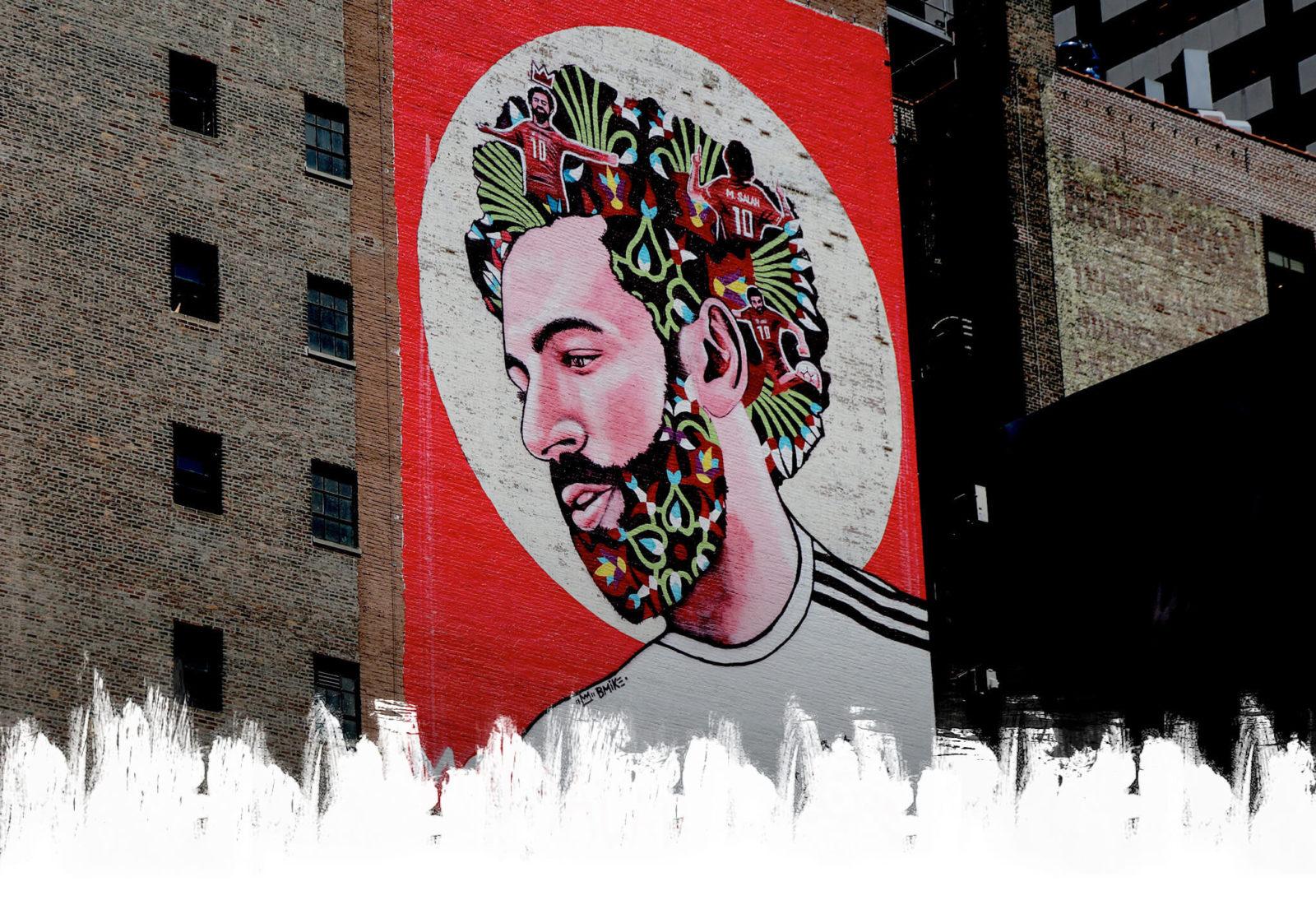 street art football portrait mo salah brandan BMike odums - Coupe du Monde de football 2018 : les plus belles œuvres de street art !
