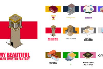 portorreal kanye west maison radar illustration album architecture my beautiful dark twisted fantasy cover 400x268 - « House of Ye » : les covers de Kanye West ré-interprétées en une série de dessins d'architecture