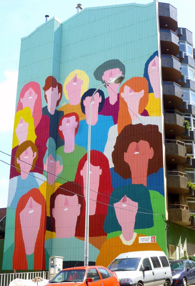 street art vigo city of colours mur visages Elisa - Destination Vigo, la nouvelle capitale espagnole du street art