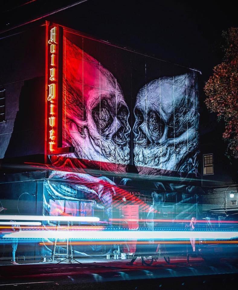 street art wide open walls sacramento californie USA festival mural crane Lin Fei Feiaeroalosha sprayplanet behrpaint radar - Les 10 murales les plus marquantes du festival Wide Open Walls Sacramento