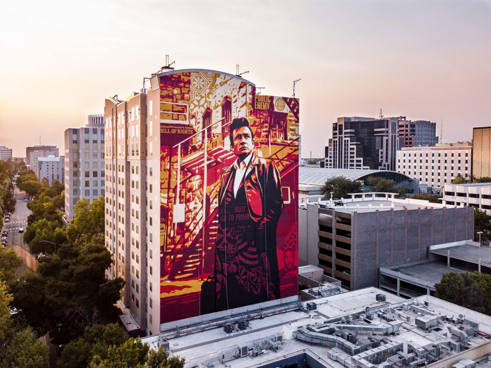 street art wide open walls sacramento californie USA festival mural johnny cashShepard Fairey  MERO radar - Les 10 murales les plus marquantes du festival Wide Open Walls Sacramento