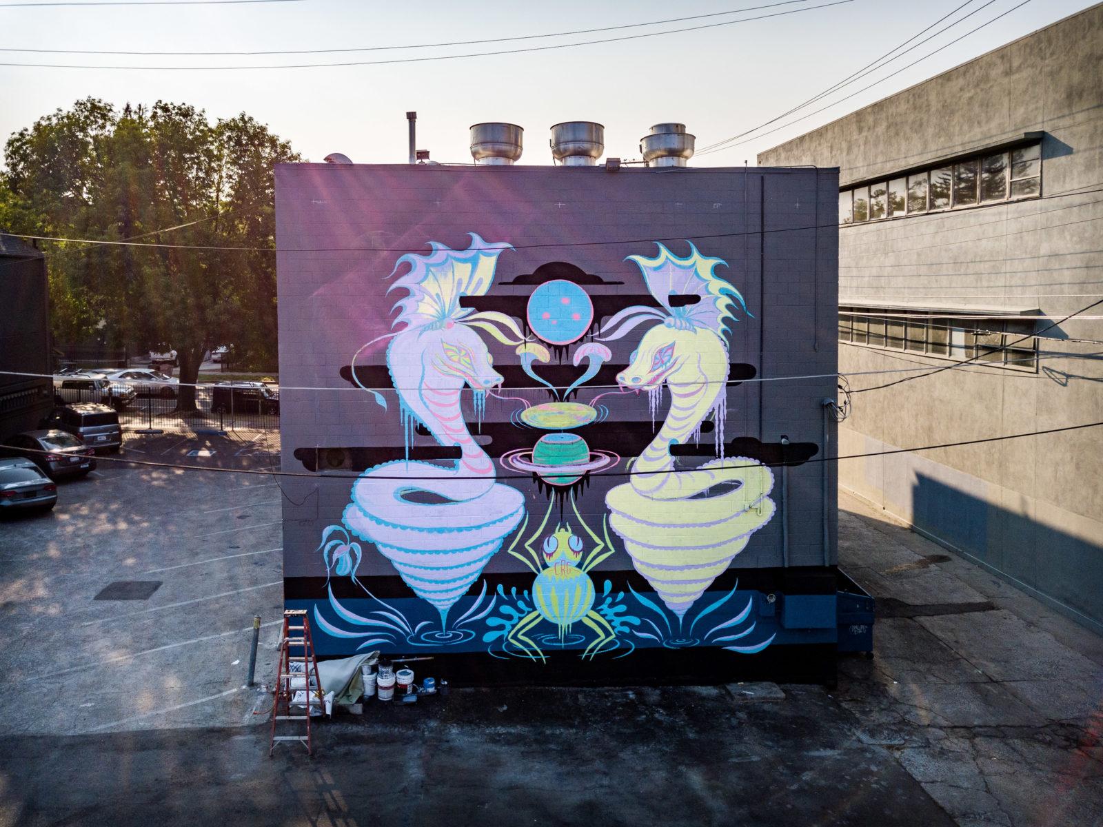 street art wide open walls sacramento californie USA festival mural pastel Camille Rose Garcia  MERO radar - Les 10 murales les plus marquantes du festival Wide Open Walls Sacramento