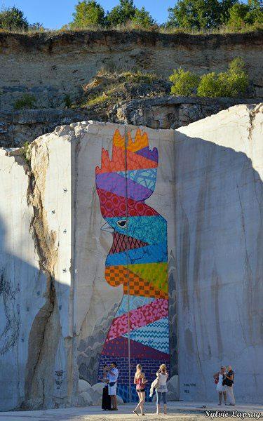 Karriere fresques streetart osru - En Bourgogne, des fresques murales monumentales réveillent une ancienne carrière !