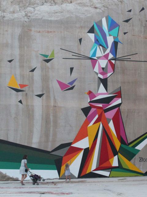 Karriere fresques streetart stoul - En Bourgogne, des fresques murales monumentales réveillent une ancienne carrière !