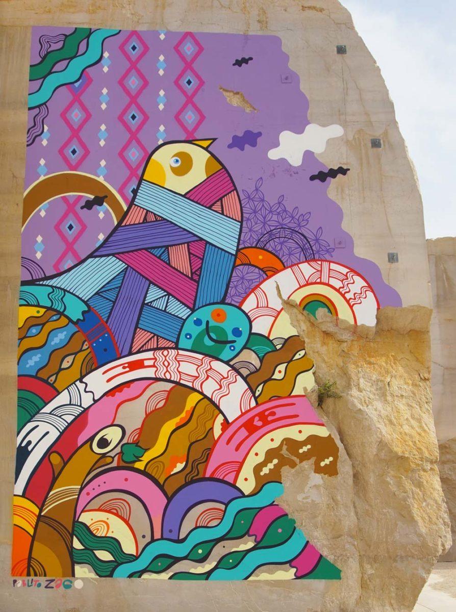 Karriere fresques streetart zago - En Bourgogne, des fresques murales monumentales réveillent une ancienne carrière !