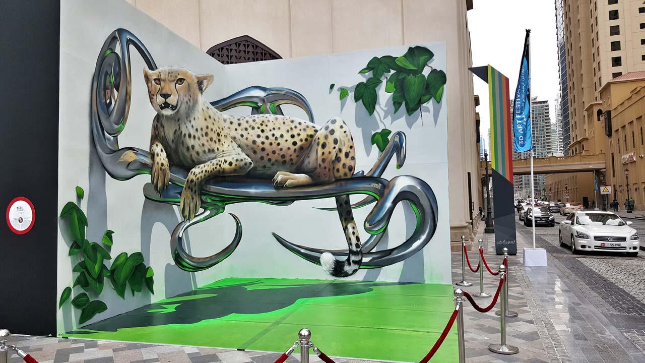 Odeith Dubai Canvas 2016 - Odeith fait jaillir par anamorphose des insectes géants !