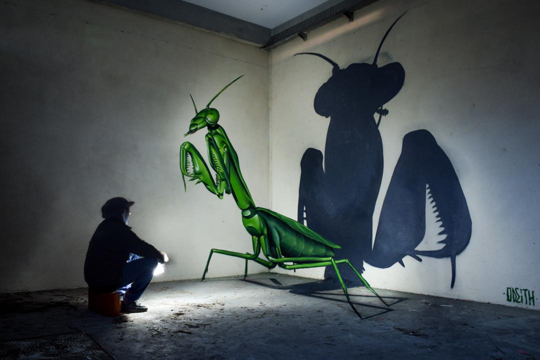 anamorphose mante 2016 - Odeith fait jaillir par anamorphose des insectes géants !