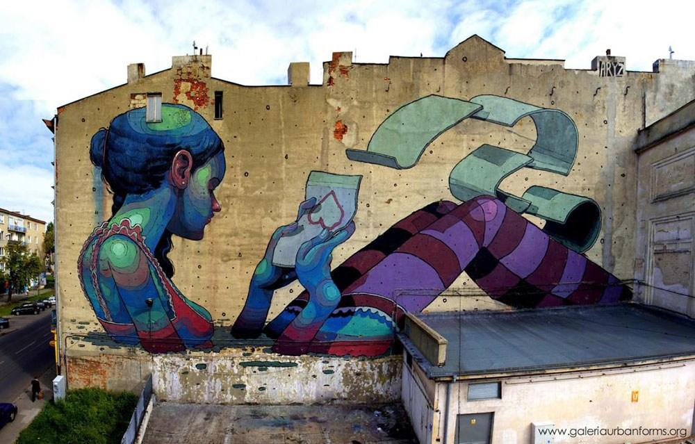 aryz lodz street art pologne portrait femme amour - Lodz, une ville polonaise en pleine mutation artistique !