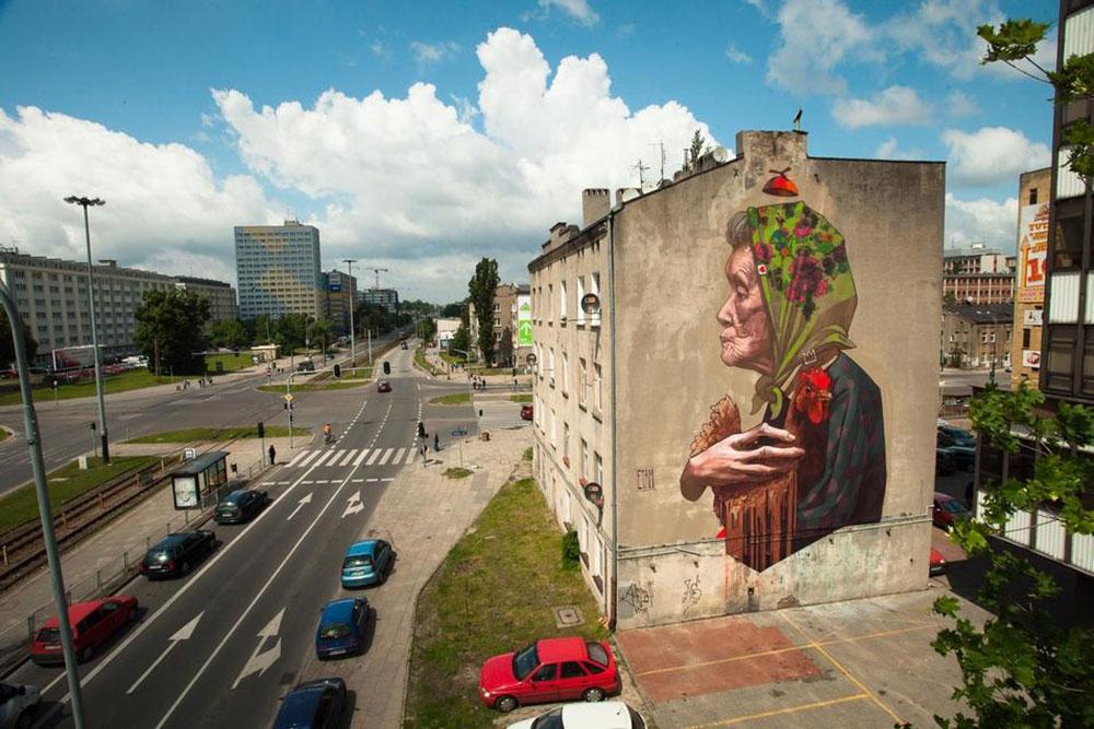 etam crew lodz street art pologne portrait grand mere ville - Lodz, une ville polonaise en pleine mutation artistique !