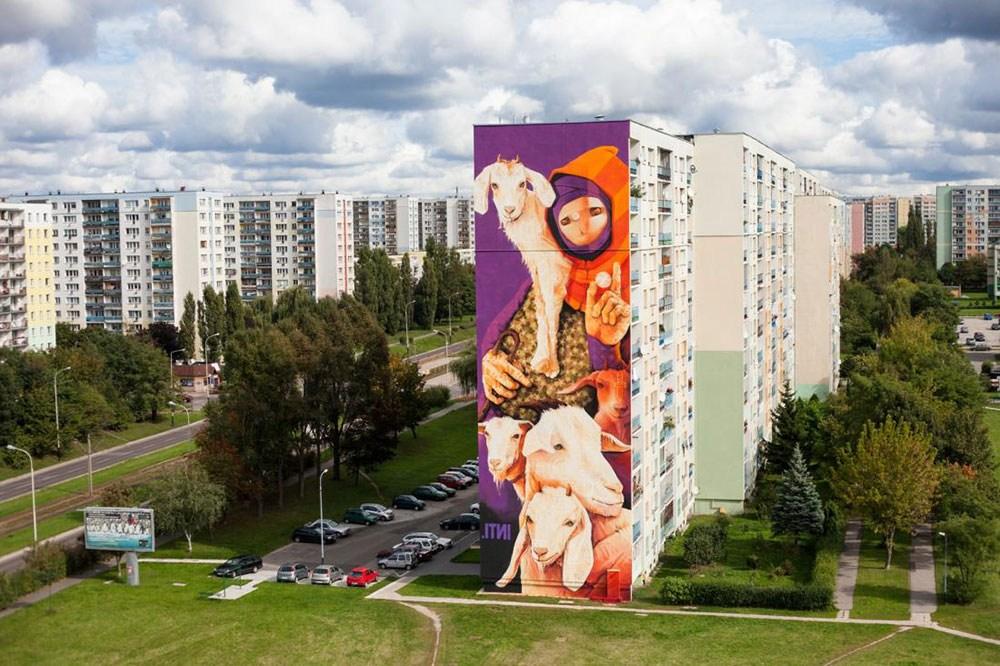 inti lodz street art pologne cite immeuble animaux - Lodz, une ville polonaise en pleine mutation artistique !