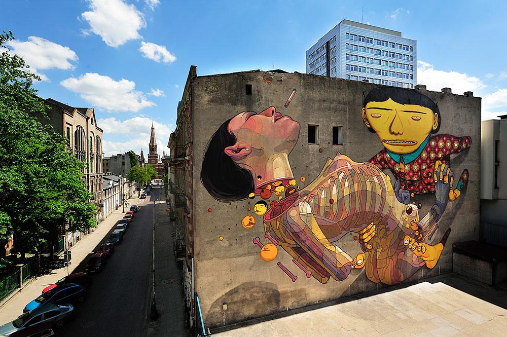 os gemeos lodz street art pologne visages corps squelette - Lodz, une ville polonaise en pleine mutation artistique !