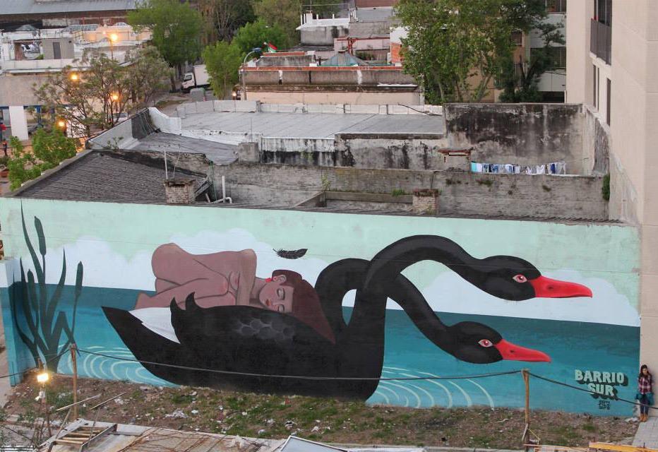 street art montevideo uruguay murale nature cygne FITZ ALFALFA - Le street art à Montevideo ? Un art de vivre !