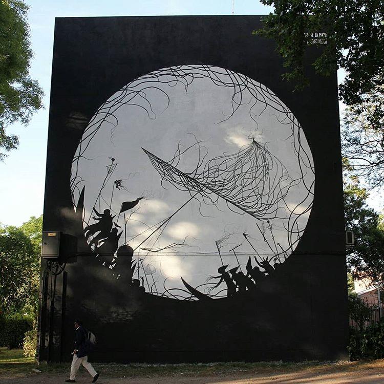 street art montevideo uruguay murale noir blanc DAVID DE LA MANO - Le street art à Montevideo ? Un art de vivre !