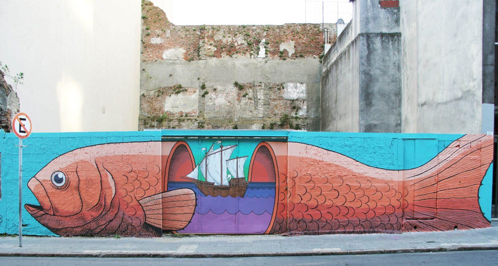street art montevideo uruguay murale poisson ALFALFA - Le street art à Montevideo ? Un art de vivre !